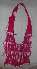 Pink & White Gypsy Fringed 100% Cotton Hand Crafted Bohemian Handbag India NWT