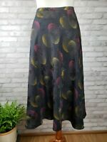Jones New York size 12 skirt 100% silk black floral and geometric midi length