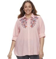 Sonoma Plus Size Essential Shirt Pink Stripe Plus Size Blouse  Top 4x  NWT