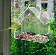Clear Window Bird Feeder Table Seed Nut Hanging Suction Clear View Small Birds