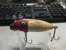 Vintage Wooden Fishing Lure Unmarked Red and White