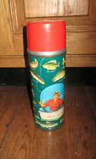 VTG ALADDIN ANGLER FISHING METAL TALL INSULATED THERMOS BOTTLE w/ STOPPER 1952