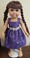 "Dark Purple & Silver Sparkle Sundress 18"" doll American Girl Handmade Dress"