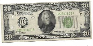 1928-B $20 Green Seal New York Federal Reserve Note