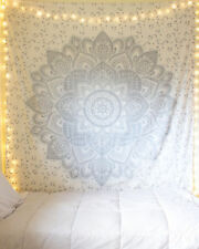 White And Silver Mandala Tapestry Wall Hanging Boho Hippie Bedspread Tapestery