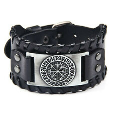 Men's Norse Viking Vegvisir Rune Compass Leather Cuff Wristband Bracelet Amulet
