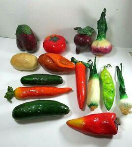 VTG Paper Mache Fruit Vegetables Lot of 14 Potato Cucumbe Eggplant Turnip Tomato