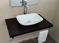 Lavabo bagno d'appoggio in vetro extrachiaro di colore bianco rettangolare cm 45