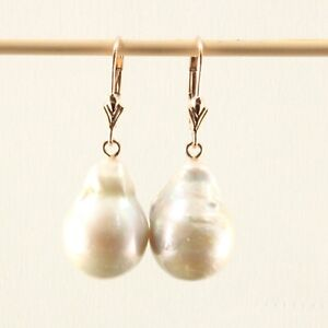 Baroque White Nucleated Pearls 14k Rose Gold Leverback Dangle Earrings TPJ
