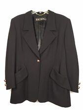 💯 Escada Blk/Navy Virgin Wool Silk Jacket Blazer Multi Tone Gold Buttons SZ 40