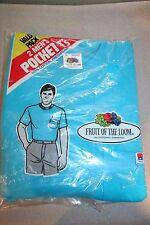 Pkg of 2 Mens L NOS 100% Cotton Blue Fruit Loom USA Vtg 80s BLANK Pocket T-Shirt