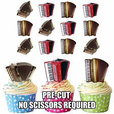 PRECUT acordeón Squeeze Box 12 Comestible Cupcake Toppers Cumpleaños Música Popular