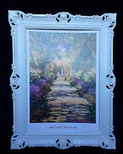 Cuadro de Monet El Garden flores marco blanco mural antiguo Garden 01