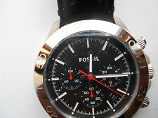 New Fossil mens chronograph black leather band Analog watch.Ch-2859
