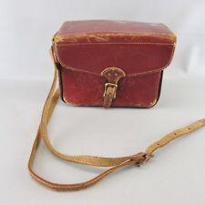 1950s Vintage Medium Brown Leather Camera Bag With Shoulder Strap
