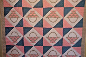 ANTIQUE  BASKET QUILT  1880 GREAT FABRICS EARLY QUILT