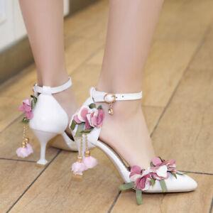 Mori Womens Flower Buckle Princess Heesl Sweet  Hshallow Mouth Bridesmaid Sandal
