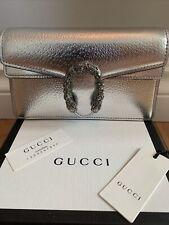 Auth Gucci GG Диониса супер мини серебристый металлик Кожаная цепь ламе сумка