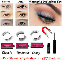 Perfect 3D False Eye Lashes With Magnetic Eyelashes Liquid Eyeliner Gel Kit Set