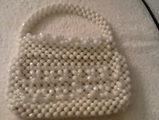 Vtg 60s White and Clear Bead Purse Plastic Hong Kong Faceted Beads