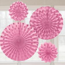4X Papel Rosa Ventiladores Decoración para Colgar Fiesta con Purpurina Acabado