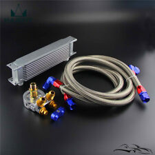 Universal 10 Row Oil Cooler+AN10 Oil Adapter w/Thermostat +Braided Hose Line Kit