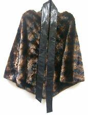 Curations Animal Print Faux Fur Poncho w Sash Belt $179.90 BROWN BLACK Small XS