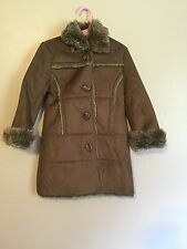 Childrens Place Premium Authentic Quality Girls Faux Suede Brown Coat Size 4 XS
