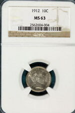 Silver MS 63 NGC Barber Dimes (1892-1916)