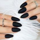 STILETTO MATTE *BLACK* Full Cover Press On 24 Nail Tips + Glue!