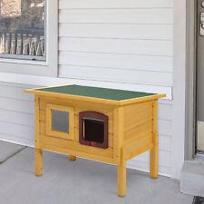 Pawhut Wooden Cat House Pet Home Outdoor Waterproof Door Roof Shelter Garden