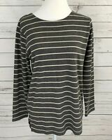 Sag Harbor Top Womens Small S Gray Striped Long Sleeve Stretch Blouse