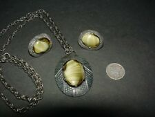 Vintage Coro COROCRAFT - art glass - pendant NECKLACE AND clip EARRINGS set