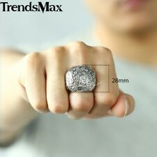 8-13 Mens Boys Cross Crown Silver Tone 316L Stainless Steel Ring Knight Signet