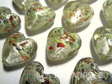 4 Handmade Lampwork Glass Murano Silver Foil Multicolour Heart Beads 20mm MG012
