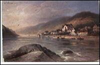 Assmannshausen alte Postkarte 1916 gelaufen Teilansicht vom Rhein aus gesehen