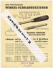 ARNSTADT, Werbung um 1935, STOYA, der verstellbare Winkel-Schraubenzieher