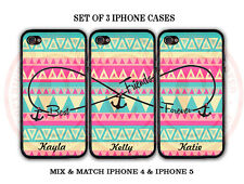 Personalized PINK MINT Aztec BFF Best Friends 3 Cases For iPhone X 8 7 6S 6 SE 5