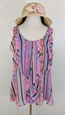Warehouse One Women's Pink Printed Top Blouse Front Cascade Sleeveless Large