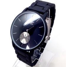 373S Hombres Niño Reloj Pulsera Vestido Negro Vintage Correa Plata Lujo Esfera