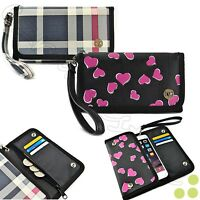 Women's iPhone/ Smart Phone Purse Wallet Clutch Wristlet Strap Case Cover