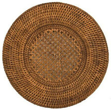 Round Placemats Charger Plates Woven Rattan Set of 4 Kitchen Dining 12 inch