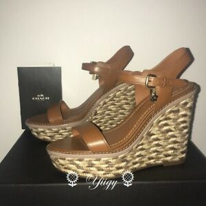 💐 Coach FG2110 💐 High Espadrille Wedge Sandal Heels shoes 5.5 NEW AUTH 💐
