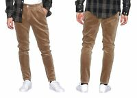 ONLY & SONS MENS CORDUROY PANTS NARROW LEG STRETCH TROUSERS CORD PANTS IN BROWN