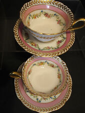 Set of 2 Antique Limoges Pink Hand Painted Rose Garland Swag Tea Cups Saucer 4pc