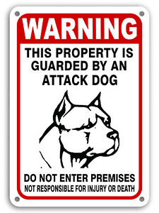 "Guard Dog on Duty Signs Beware of Dog Sign Dogs Will Bite Attack Dog 7""x 11"""