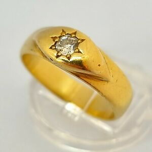 16ct Yellow Gold Diamond Gypsy Single Stone Ring Size T 1/2