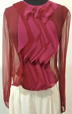 Stunning Sheer Burgundy Lela Rose High Fashion Designer Blouse, Size 6