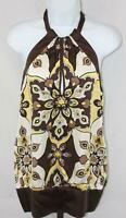 Bebe Womens Ladies Brown Yellow White Floral Silk Halter Top Blouse Size Medium