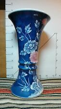 "Asian Vase, Porcelain, Signature?, Blue, Pink & Yellow,  8"", Collectible Decor"